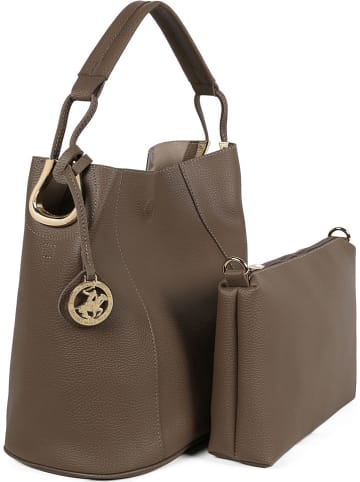 Beverly Hills Polo Club Schultertasche in Taupe - (B)35 x (H)32 x (T)17 cm