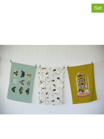 """The Wild Hug 3-delige set: theedoeken """"Bugs"""" meerkleurig - (L)70 x (B)50 cm"""
