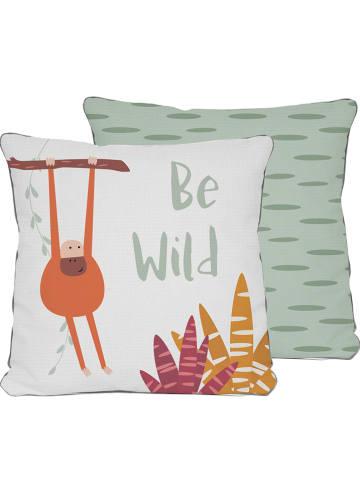"""The Wild Hug Kussensloop """"Be Wild"""" groen/meerkleurig - (L)45 x (B)45 cm"""