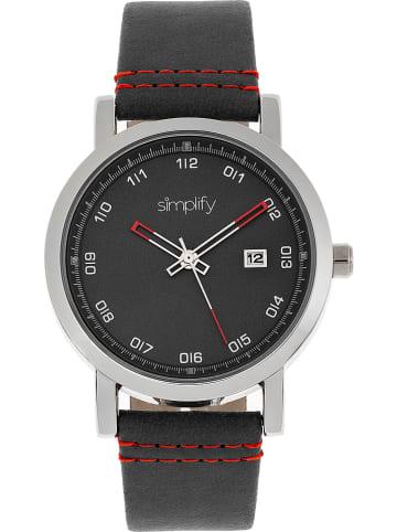 """Simplify Kwartshorloge """"The 5300"""" zwart/zilverkleurig"""