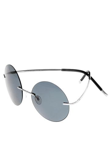 """Simplify Okulary przeciwsłoneczne unisex """"Christian"""" w kolorze błękitno-srebrnym"""