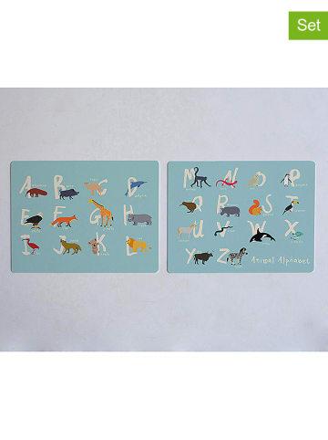 "Little nice things 2-delige set: placemats ""Alphabet"" lichtblauw/meerkleurig - (L)40 x (B)30 cm"