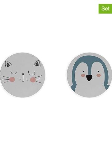 """Little nice things 2-delige set: placemats """"Animals 3"""" wit/meerkleurig - Ø 32 cm"""