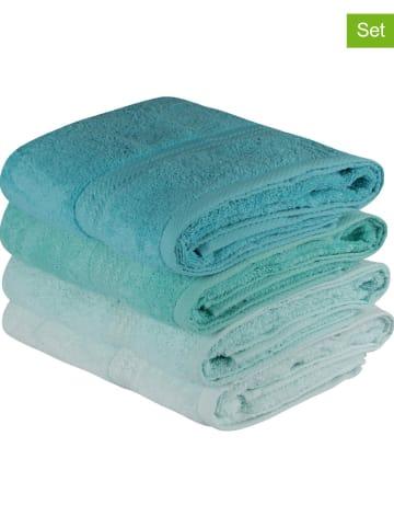 "Colourful Cotton 4-delige handdoekenset ""Rainbow"" turquoise"
