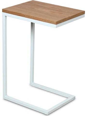 Deco Lorrie Beistelltisch in Weiß/ Natur - (B)30 x (H)60 x (T)40 cm