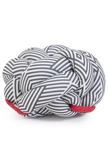 Pandora Trade Puf w kolorze kremowo-szaro-czerwonym - 60 x 35 cm