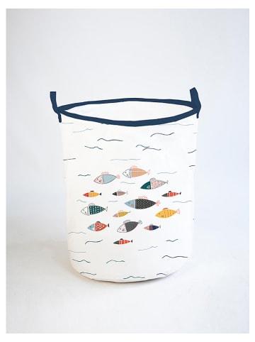 """The Wild Hug Kosz """"Fisches"""" w kolorze białym ze wzorem - wys. 50 x Ø 40 cm"""