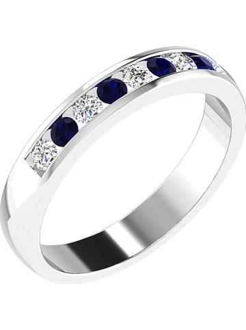 Art of Diamond Weißgold-Ring mit Diamanten und synth. Saphiren