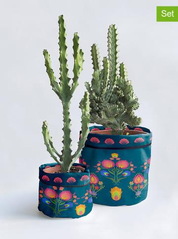 """Madre Selva Osłonki (2 szt.) """"Crisantemo"""" w kolorze niebieskim na doniczkę"""