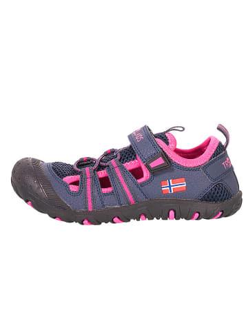 """Trollkids Enkelsandalen """"Sandefjord"""" donkerblauw/roze"""