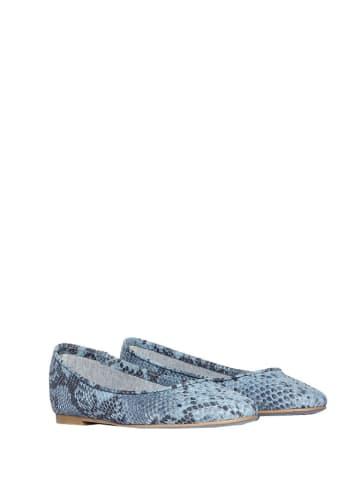 L37 Leren ballerina's blauw/grijs/zwart