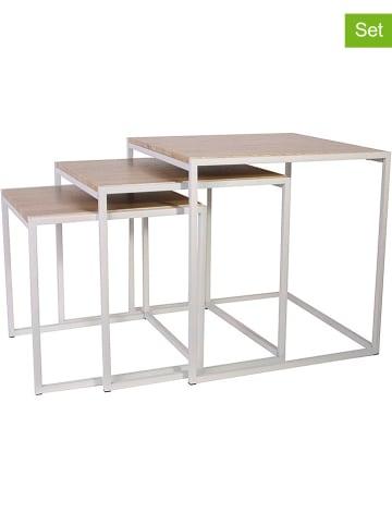 THE HOME DECO FACTORY Set van drie tafels wit/naturel