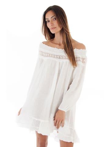 100% LIN Leinen-Kleid in Weiß