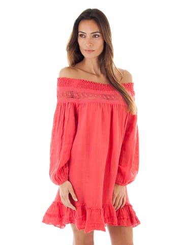 Naturelle en lin Leinen-Kleid in Pink