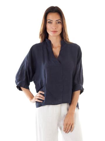 100% LIN Linnen blouse donkerblauw