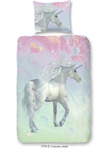 "Good Morning Beddengoedset ""Unicorn"" roze/groen"
