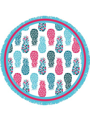 "Le Comptoir de la Plage Badhanddoek ""Primavera - Zorritos"" lichtblauw/roze - Ø 150 cm"