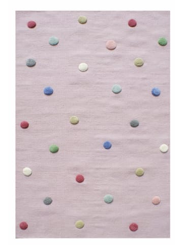 """Kids love rugs Schurwoll-Teppich """"Colordots"""" in Rosa"""