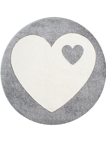 """Kids love rugs Geweven tapijt """"Hart"""" grijs/wit"""