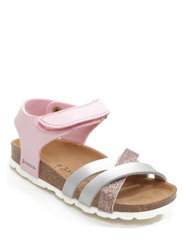 BACKSUN Sandały w kolorze jasnoróżowo-srebrnym