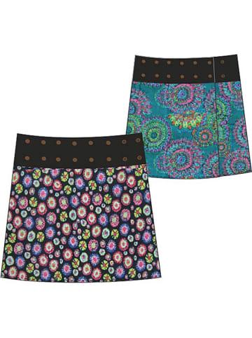 KÉAWA Dwustronna spódnica w kolorze morskim ze wzorem