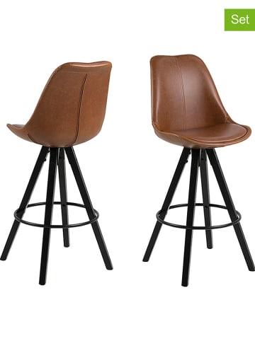 """AC Design 2-delige set: barkrukken """"Dima"""" cognackleurig - (B)48,5 x (H)111,5 x (D)55 cm"""