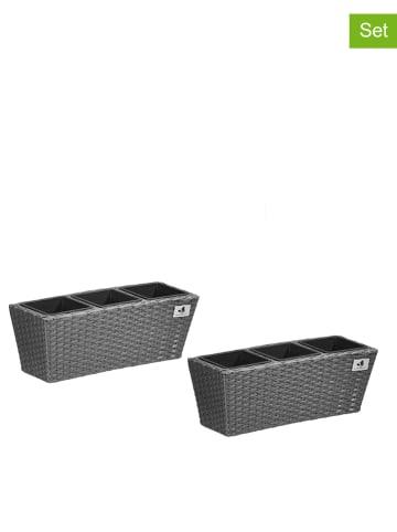 Gartenfreude 2-delige set: balkonbakken grijs - (B)47 x (H)15 x (D)17 cm