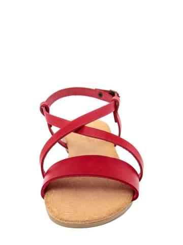 Lionellaeffe Skórzane sandały w kolorze czerwonym