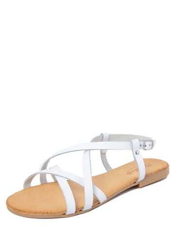 Lionellaeffe Leder-Sandalen in Weiß