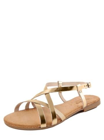 Lionellaeffe Skórzane sandały w kolorze złotym