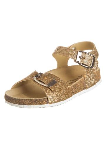 BIO PINGÜIN Sandały w kolorze złotym