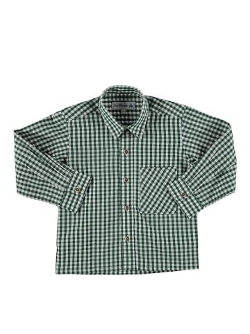 Isartrachten Trachtenhemd in Dunkelgrün/ Weiß