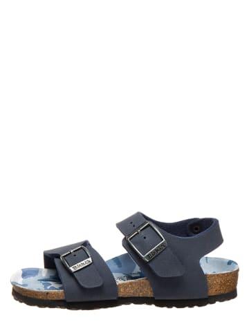 "Birki's Leder-Sandalen ""New York"" in Dunkelblau - Weite S"