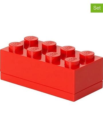 """LEGO 3-delige set: opbergboxen """"Mini 8"""" rood - (B)9,2 x (H)4,3 x (D)4,6 cm"""