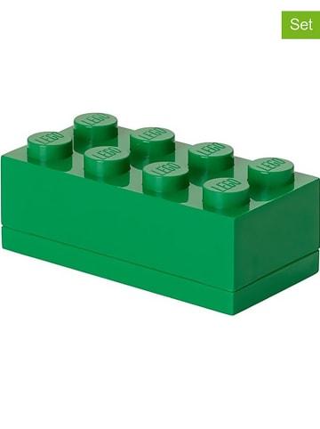 """LEGO 3-delige set: opbergboxen """"Mini 8"""" groen - (B)9,2 x (H)4,3 x (D)4,6 cm"""