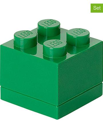 """LEGO 3-delige set: opbergboxen """"Mini 4"""" groen - (B)4,6 x (H)4,3 x (D)4,6 cm"""