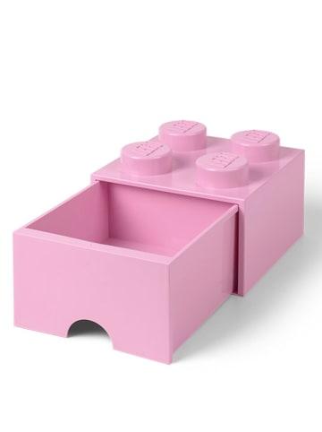 """LEGO Pojemnik """"Brick 4"""" w kolorze jasnoróżowym z szufladami  - 25 x 18 x 25 cm"""