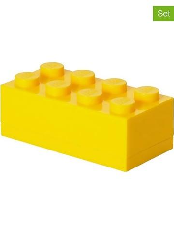 """LEGO 3-delige set: opbergboxen """"Mini 8"""" geel - (B)9,2 x (H)4,3 x (D)4,6 cm"""