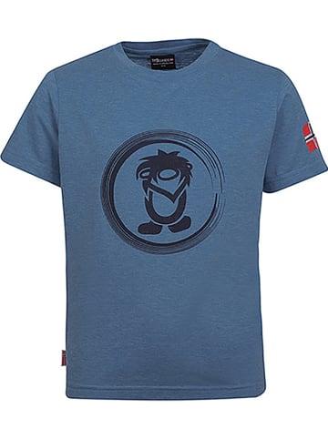 """Trollkids Koszulka funkcyjna """"Trollfjord"""" w kolorze niebieskoszarym"""
