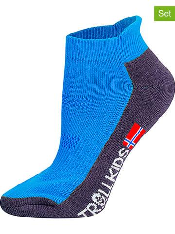 """Trollkids Skarpety turystyczne (2 pary) """"Low Cut Socks II"""" w kolorze niebieskim"""