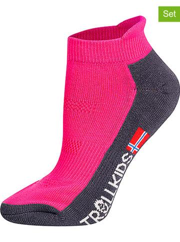 """Trollkids Skarpety turystyczne (2 pary) """"Low Cut Socks II"""" w kolorze różowym"""
