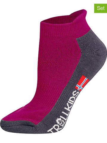 """Trollkids Skarpety turystyczne (2 pary) """"Low Cut Socks II"""" w kolorze fuksji"""