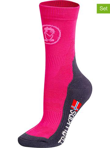 "Trollkids Skarpety trekkingowe (2 pary) ""Mid Cut Socks II"" w kolorze różowym"