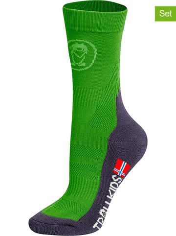 """Trollkids Skarpety trekkingowe (2 pary) """"Mid Cut Socks II"""" w kolorze zielonym"""