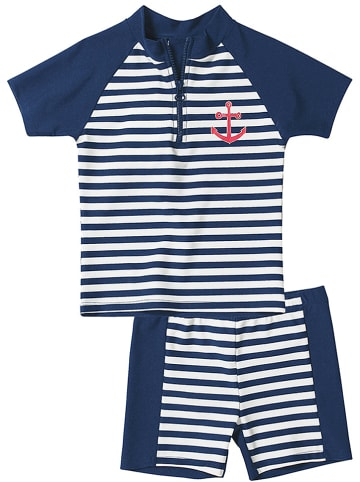 Playshoes 2-delige zwemoutfit wit/donkerblauw