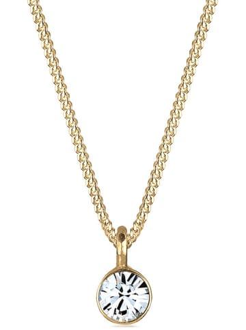 Elli Pozłacany naszyjnik z kryształem Swarovski - dł. 45 cm