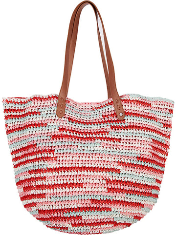 "Chiemsee Strandtas ""Straw Beach Bag"" rood/wit - (B)40 x (H)56 x (D)20 cm"
