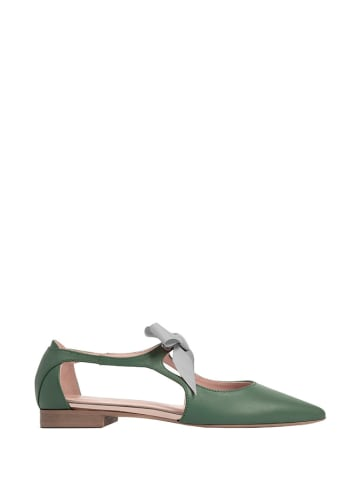 L37 Leren ballerina's groen