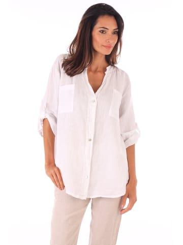 Spécial Lin Lniana bluzka w kolorze białym