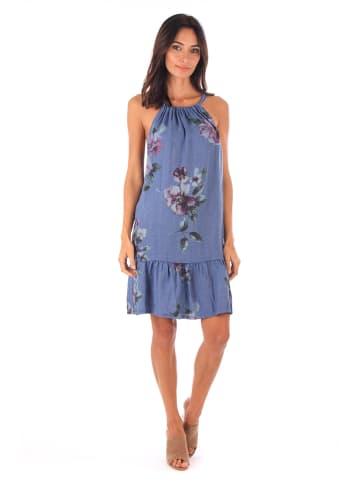100% LIN Leinen-Kleid in Blau